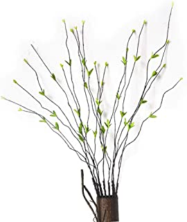 Pursuestar 5Pcs 35inch Lifelike Willow Branches Leaf Bendable Iron Wires Artificial Floral Flower Stub Stem DIY Craft Wedding Home Room Office Hotel Hall Decoration