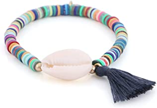White Shell Elastic Bracelet Colorful Polymer Clay Beaded Bracelets for Women Holiday Jewelry Seashell Beach