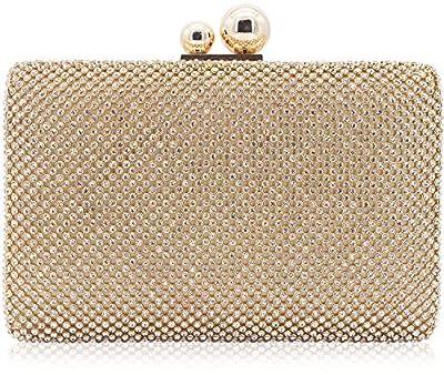 Dexmay Womens Rhinestone Crystal Evening Clutch Bag Wedding Purse Bridal Prom Handbag Party Bag Gold