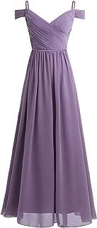 Women's Off The Shoulder A Line Floor Length Chiffon Bridesmaid Dress