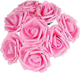 100 PCS Artificial Flowers Pink Roses Real Looking Fake Roses DIY Wedding Bouquets Centerpieces Arrangements Party Baby Shower Home Decorations (Pink-100Pcs)