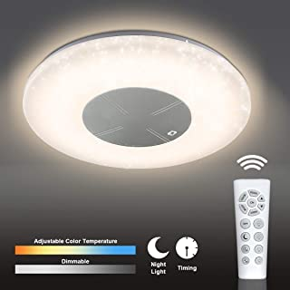 CORSO 18'' LED Starlight Ceiling Light Fixture with Remote Control, 48W 3500 LM, Flush Mount Chandelier with Stepless Dimmable & Color Adjustable Smart Timer and Night Light for Living Bed Dining Room