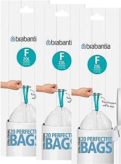 Brabantia Smartfix Slimline - Bolsas de basura (20 L, tipo F, 3 paquetes de 20 unidades)