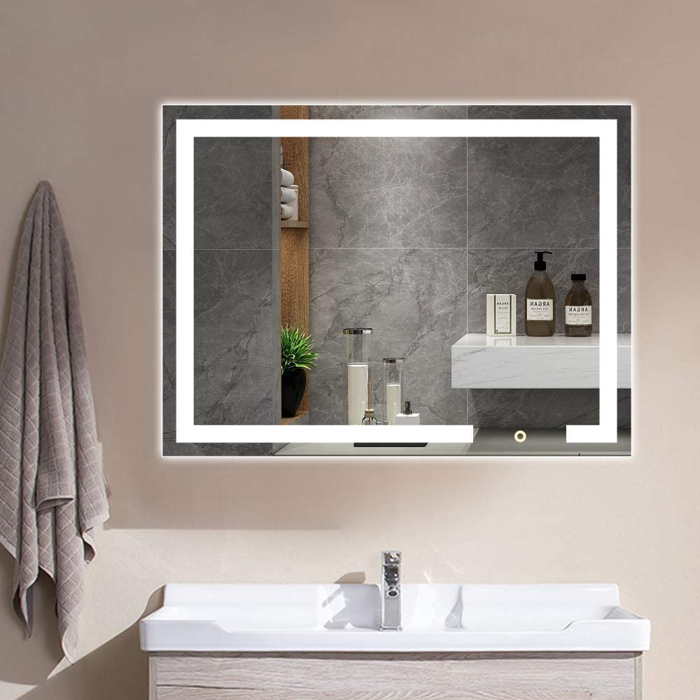 Vanity Lighted Dallas Mall Mirror 32x24 Inches LED Makeup Large Dimmable Super sale period limited wit
