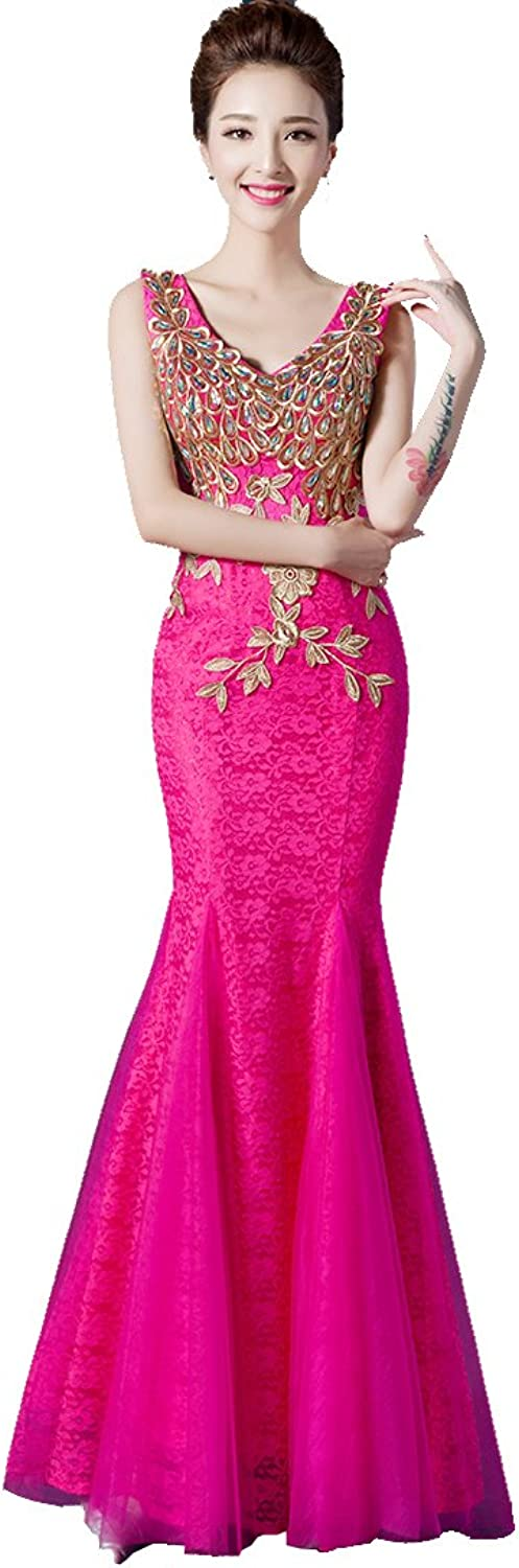 BeautyEmily Rhinestone Lace Embroidery Long Mermaid Party Dresses