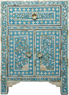 Heathertique Handmade Bone Inlay Furniture - Side Table Floral Pattern Cabinet (Turquoise)