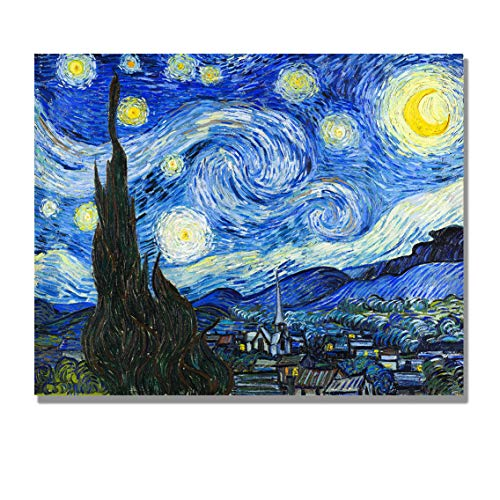 Eliteart- The Starry Night by Vincent Van Gogh Oil Painting Reproduction Giclee Wall Art Canvas Prints