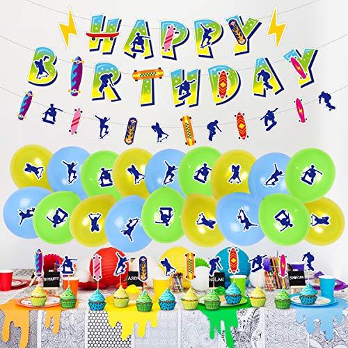 Skateboard Birthday Party Supplies -Skateboard Theme Party Supplies , Hanging Swirls Skater Boy Shape, Boarding Silhouette Balloons, Cake Topper and Cupcake Toppers for Sport Themed Skater Boys and Girls Decor