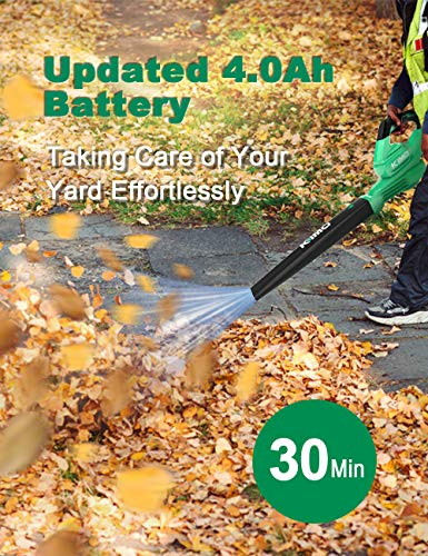 Cordless Leaf Blower - 200 CFM 150 MPH Battery-operated Blower for Blowing Leaves, Snow Debris and Dust, 20V ELectric Leaf Blower with 4.0Ah Battery and Charger for Yard, Work around the House