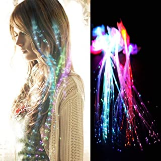 Rainbow Colors LED Lights Hair, Light-Up Fiber Optic LED Hair Barrettes Party Favors for Party, Bar Dancing Hairpin, Hair Clip, Multicolor Flash Barrettes Clip Braid, 12 Pack