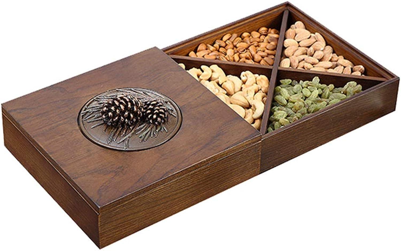 Assiette de fruits secs Assiette de collations Assiette de collations Assiette de bonbons Boîte de rangeHommest pour la maison Plateau créatif Double Boîte de rangeHommest avec couvercle