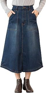 [Happy Honu(ハッピー ホヌ)] ストレッチ デニム ベイカー スカート 大きいサイズ M ~ 4L レディース