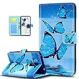 Kompatibel mit Schutzhülle Huawei Honor 6X Hülle Handyhülle Leder Hülle,ikasus Bunte Kunst Gemalt PU Lederhülle Handyhülle Tasche Hülle Flip Wallet Ständer Schutzhülle,Blau Schmetterling