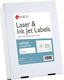 MACO Laser/Ink Jet White Address Labels, 1-1/3 x 4 Inches, 14 Per Sheet, 3500 Per Box (ML-1400B)