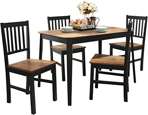 discount Giantex 5 Piece Dining Set with 4 Chairs, Solid Wood Frame, Dining Kitchen Table Set for outlet online sale 4 online Person, Home Furniture Set for Kitchen, Dinning Room and Apartment (Walnut & Black) online sale