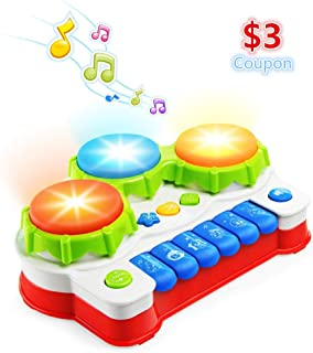 NextX Baby Musical Toys, Toddler Learning Music Drum Piano Toy, Development Musical Toy for 6 Months Infant Baby, with Music and Lighting Up