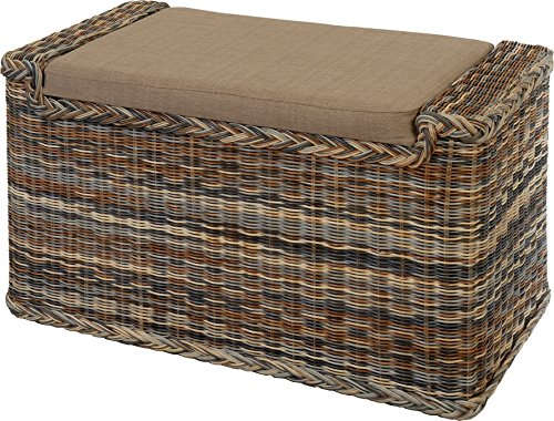 korb.outlet Wäschesortierer mit Sitzbank aus echtem Rattan/Wäschesammler mit 3 Fächern in der Farbe Zebra (Mehrfarbig)