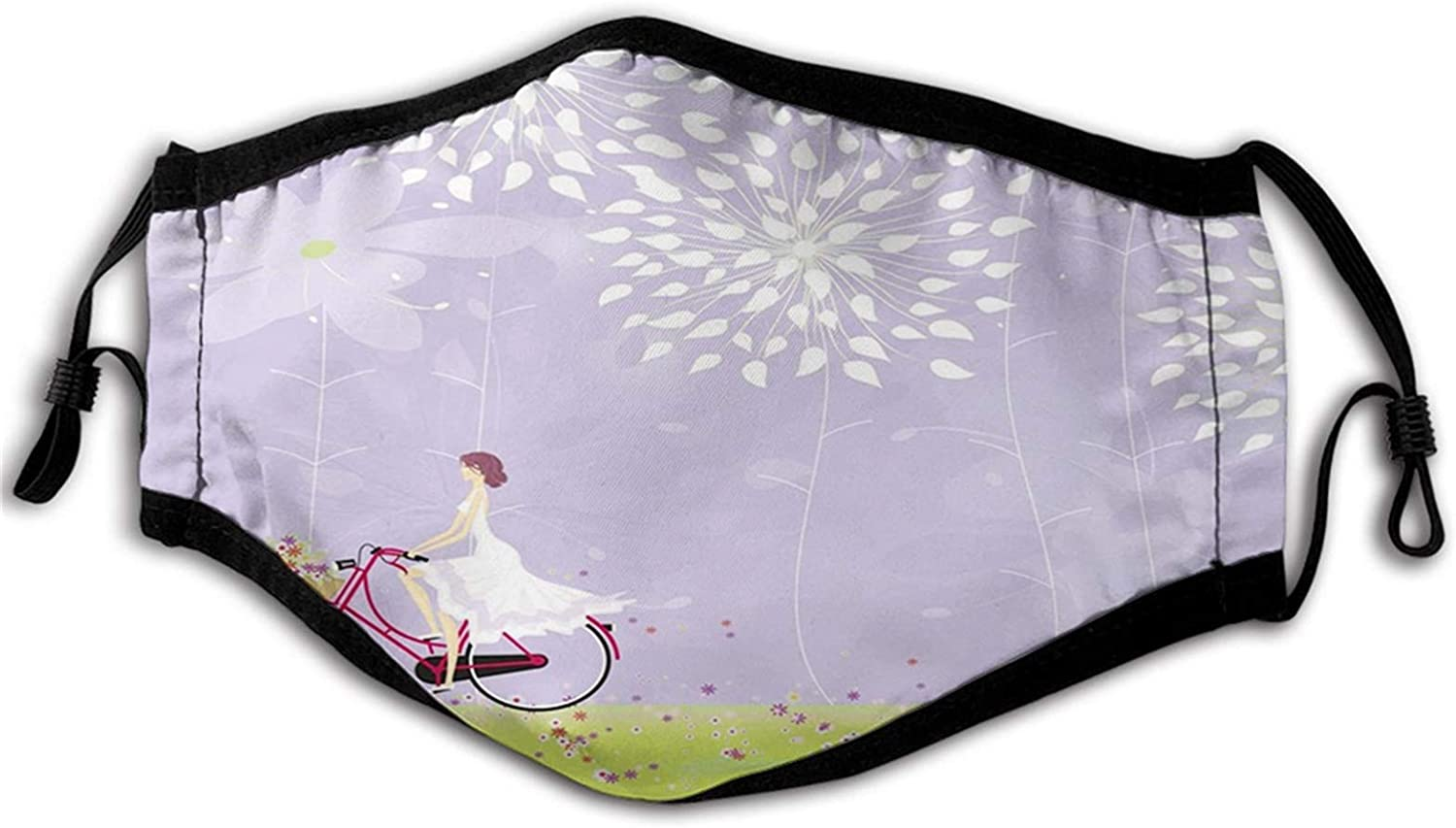 Cartoon, Girl Riding Bike Windy Weather in The Garden with Grass Artwork,Lavender Fruits Green White Proof Windproof Face Mask,Reusable,Washable Cloth,Face Cover,Cover for Adult