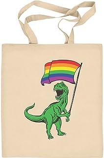 Shirtgeil LGBT Lesbian & Gay - T-Rex Rainbow Regenbogen Tasche Jutebeutel Baumwolltasche