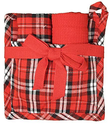 Weihnachts-Küchengeschenk-Sets Holiday Küchentücher Topflappen Geschenkset für Küche Kochen und Backen während der Weihnachtszeit Weihnachtliches Plaid- Rot / Schwarz