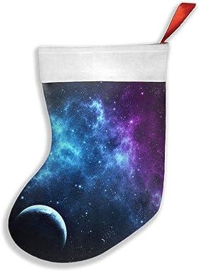LFBCN Blue Purple Galaxy Christmas Stockings, Personalized Xmas Red Gift Treat Bags Socks Decorations