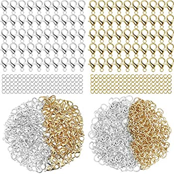 600 Pieces Lobster Clasps and Open Jump Rings Set Lobster Claw Clasps for Jewelry Making and Bracelets  Gold Silver