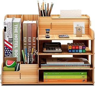FOCCTS Wooden Desktop Organizer for Office Supplies Storage Shelf Rack - Book Shelf, Stationary Compartment Holder, Mail H...