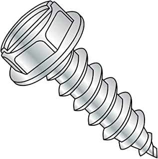 """Steel Sheet Metal Screw, Zinc Plated, Hex Washer Head, Slotted Drive, Type A, 6-18 Thread Size, 5/8"""" Length (Pack of 100)"""
