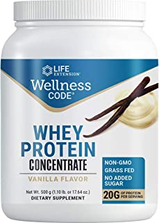 Life Extension Wellness Code Whey Protein Concentrate 20g Muscle Growth & Immune Health - Sourced From Grass-Fed, Free-Ran...