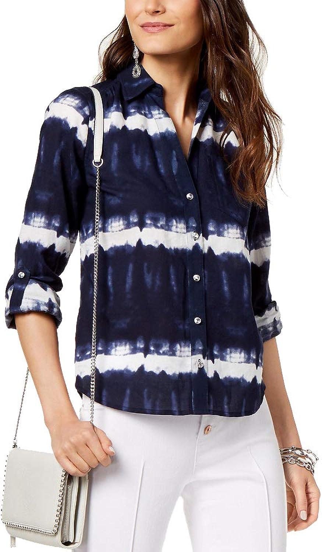 INC International Concepts Women's Petite Cotton TieDye ButtonUp Top
