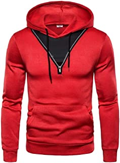 neveraway Men Athletic Casual Stitch Coat Hooded Tracksuit Top