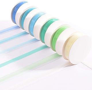 Vaessen Creative Set de Ruban Organza, Couleurs de Bleu Bébé, 6mm x 2m, Bordures Tricotées, Fabrication de cartes, Scrapbo...