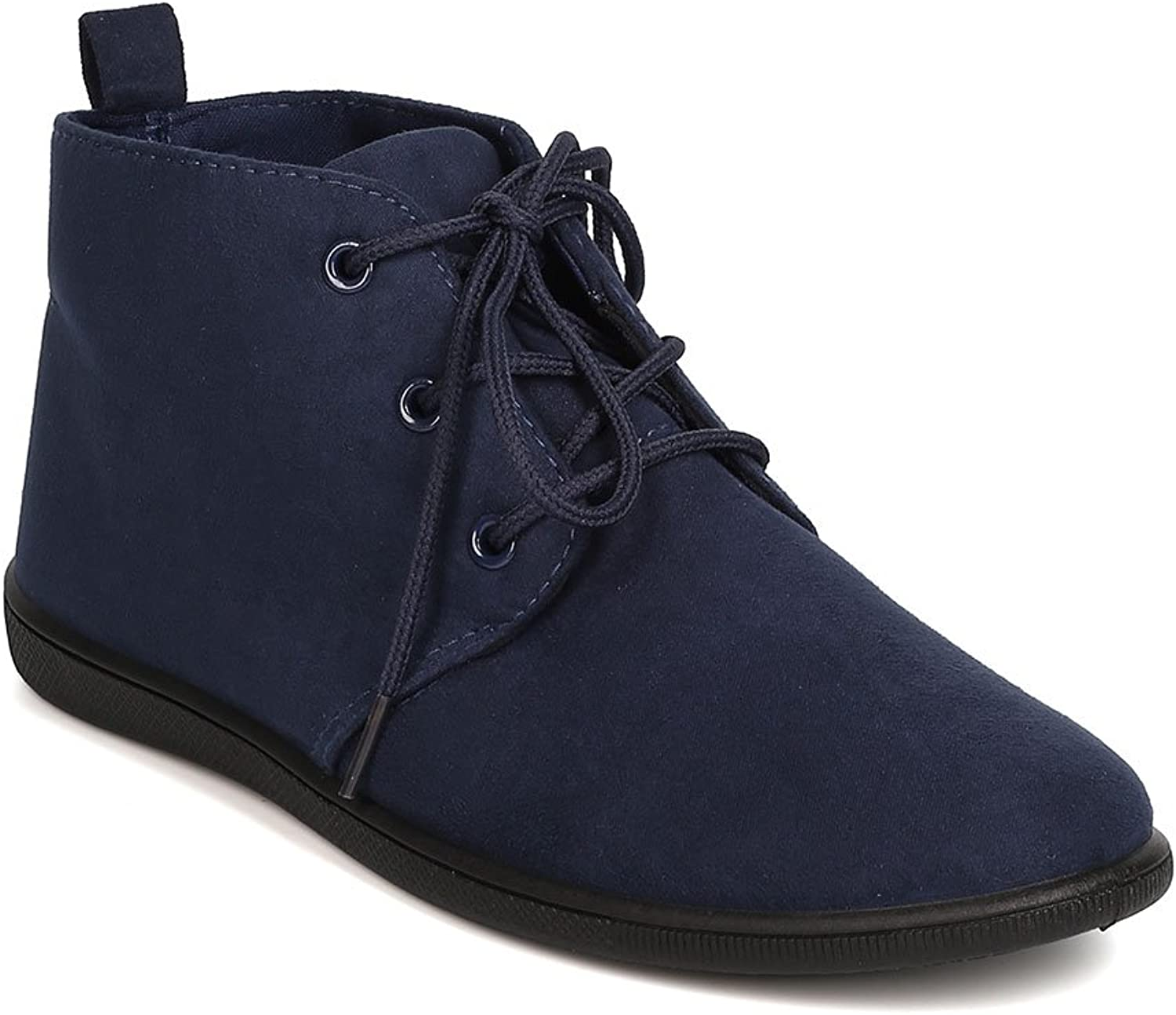 Refresh Women Faux Suede Round Toe Lace Up Desert Bootie FH51