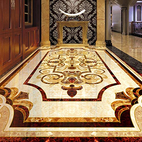 Papel tapiz mural de suelo impermeable autoadhesivo de PVC HD 3D pegatina de baldosa de mármol para sala de estar Hotel -400 * 300 cm