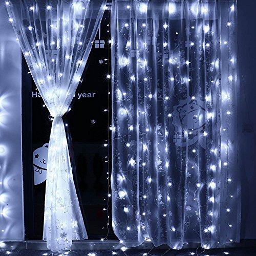 Qedertek Cortina de luces Prolongable, Guirnalda Luces Led Decorativas 3x3m 300 LED, luces de Navidad Blanco Frio, Cortina Luces LED para Decoración Navidad
