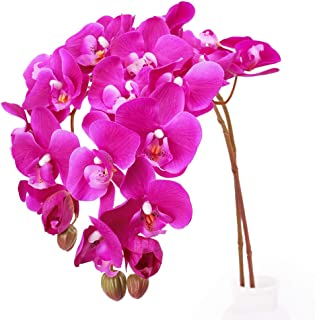 N&T NIETING Artificial Orchid Phalaenopsis Flower, 2PCS 29in Real Touch Simulation Orchild with Stem for Wedding, Flower Arrangement, Home Centerpiece Decor, Party Decorations (Deep Pink-2)