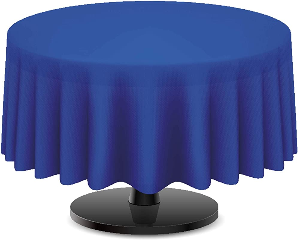 DecorRack 2 Round Tablecloth BPA Free Plastic 84 Inch Dining Table Cover Cloth Round For Parties Picnic Camping And Outdoor Disposable Or Reusable In Royal Blue 2 Pack