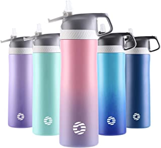 FJbottle Insulated Water Bottles with Straw, 20 oz-25 oz Double Wall Vacuum Insulated Stainless Steel Bottle Keeps Hot and Cold, With Cleaning Brush, Perfect Gifts for Girl and Lady