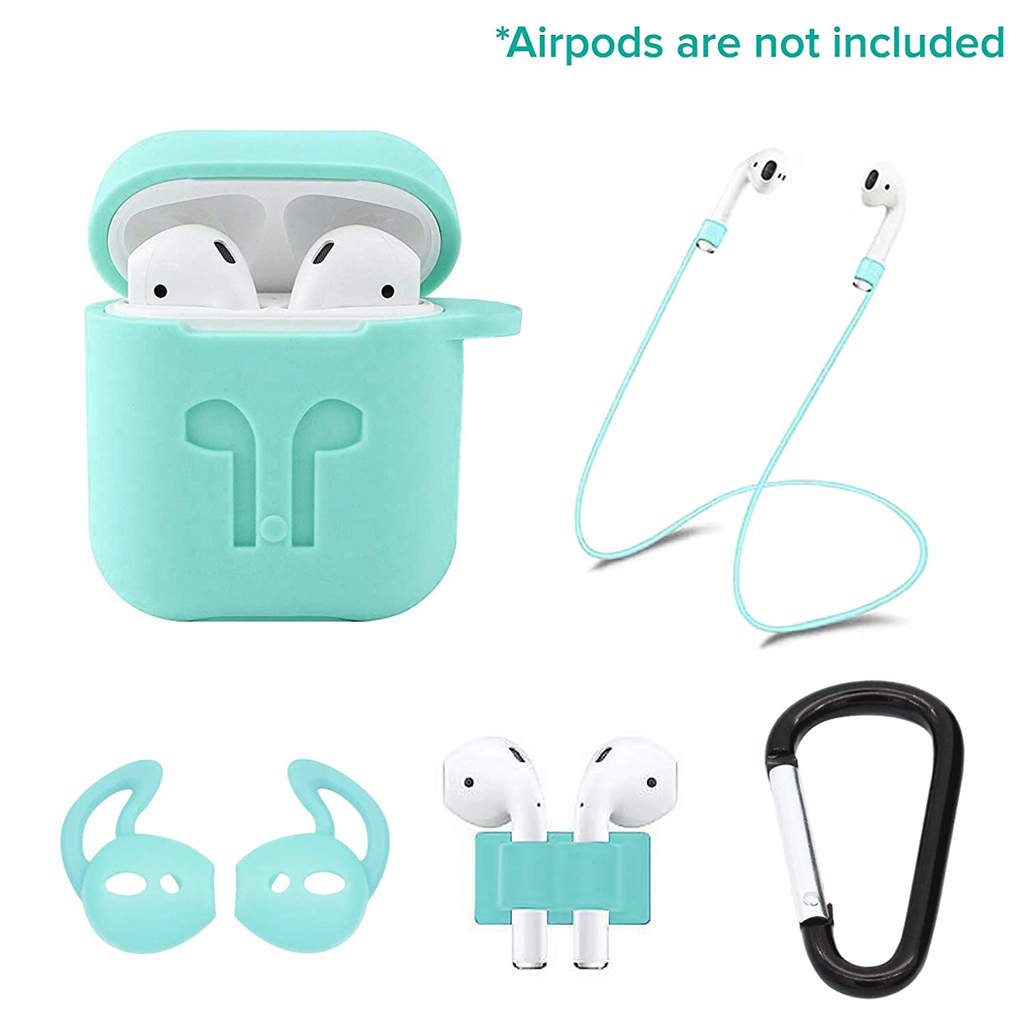 Casism AirPods Case 5 in 1 Airpods Accessories Kits Protective Silicone Case and Cover for Charging Case with Airpods Strap/Airpods Ear Hooks/Anti-Lost Carabiner/Airpods Watch Band Holder (Mint)
