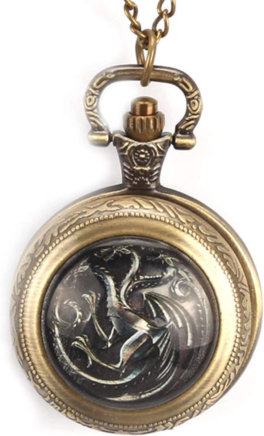 GAOFQ Reloj de Bolsillo Juego de Tronos Serie de televisión Estadounidense Reloj de Bolsillo temático para Hombres y Mujeres, Reloj de Bolsillo conmemorativo para Regalo