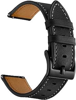 Sum-of-Best for Garmin Vivoactive 3 Watch Band, 20mm Genuine Leather Watch Strap for Garmin Forerunner 645/Forerunner 245/...
