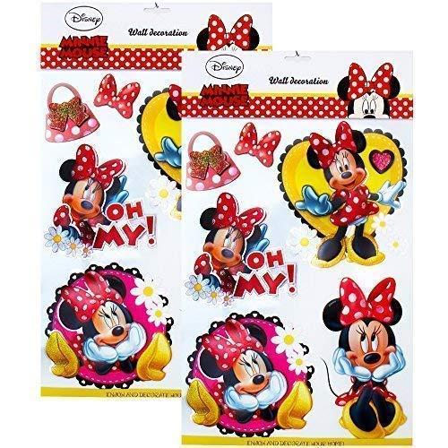 TE-Trend Disney 3D Póster Disney Pegatina de Pared, Adhesivo de Pared Cuadros Niña Dormitorio Infantil Decoración Multicolor Frozen Coches Minni Mouse - 2er Disney Minnie Mouse
