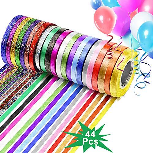 44 rollos Cinta para Rizar Globos Set, Cinta Metálica Navideña para Envolver Regalos, Cuerda para Globos Prensados para Regalo, Manualidades Flores Lazo Pasteles Decoración Bodas Cumpleaños