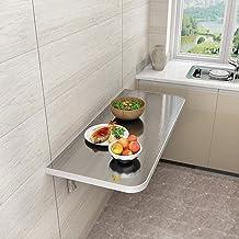 SYLTL Składany stół kuchenny do jadalni, montowany na ścianie składany stół z opuszczanymi listami, biurko na laptopa, stó...
