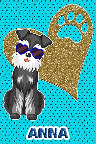 Schnauzer Life Anna: College Ruled | Composition Book | Diary | Lined Journal | Blue