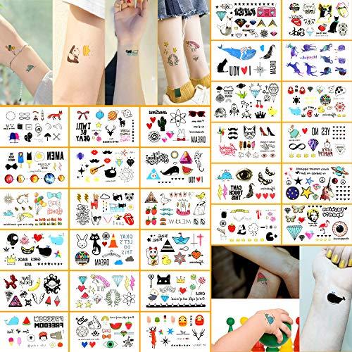 Oottati 30 Sheets 300+ Design Small Cute Temporary Tattoos Kit - Colorful Guitar Strawberry Cat Deer Fox Diamond Unicorn Ballon Ice Creem Panda Whale for Kids