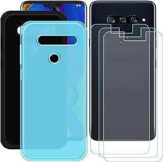 YZKJ [2 stycken skal för LG V40 ThinQ Cover svart + blå mjuk silikon skyddande skydd TPU skal skal skal + 3 x pansarglas s...