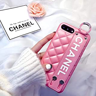 Phone case for iPhone Xs Max Case, Elegant Street Fashion Luxury Designer PU Leather Heart Slim Fit Shockproof Cover Case for iPhone 6 6S 7 8 Plus X XS XR XS MAX (Pink, iPhone XR)