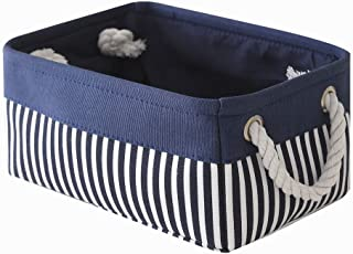TcaFmac Small Fabric Nautical Storage Baskets, Collapsible Canvas Toy Storage Organizing Basket with Strong Cotton Rope Handles for Shelves,Empty Gifts,Baby Blue Basket 12(L) x 8(W) x 5(H) inches