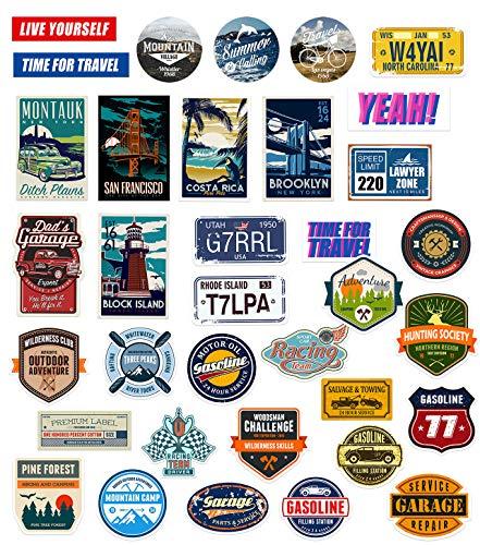 makstore Juego de 52 pegatinas de vinilo vintage para portátil, coche, moto, bicicleta, graffiti, monopatín, móvil, resistente al agua